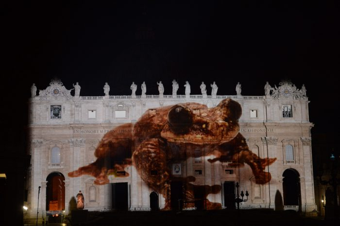 Photo: A critically endangered Rabbs' fringe-limbed tree frog (Ecnomiohyla rabborum) is projected onto the Vatican in an effort to raise awareness for the extinction crisis.
