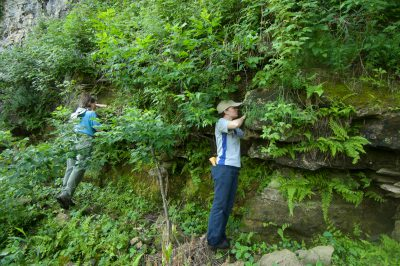 A biological technician and an intern search for the federally endangered Iowa Pleistocene Snail (Discus macclintocki).