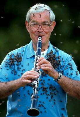"""Photo: Dr. Norman Gary, an entomologist and bee wrangler, plays his clarinet while wearing a """"bee beard."""""""
