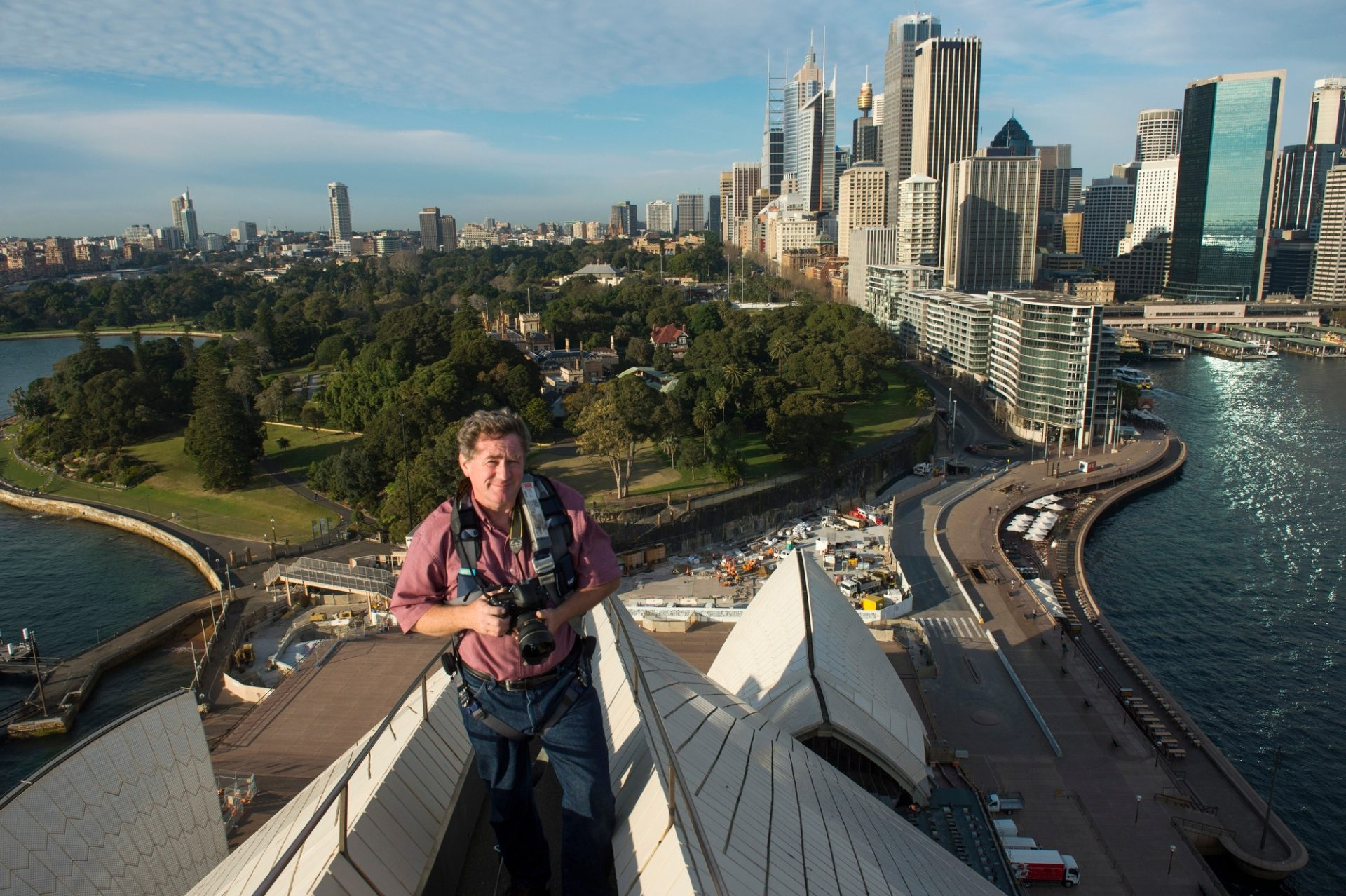 Photo: Joel Sartore at the top of the Sydney Opera House, Australia.