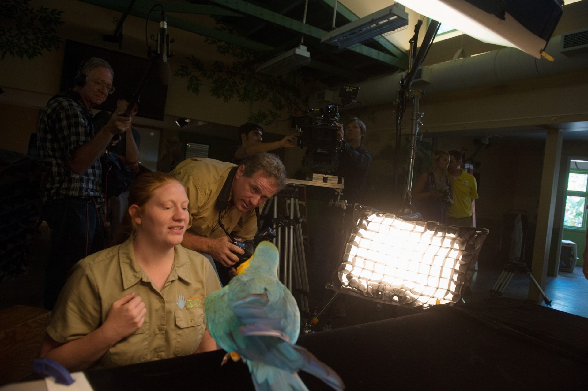 A zookeeper prepares a blue and yellow macaw (Ara ararauna) for a photo shoot at the Lincoln Children's Zoo.