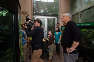 Photo: Louis Psyhoyos film crew documenting frogs at the Atlanta Botanical Garden.