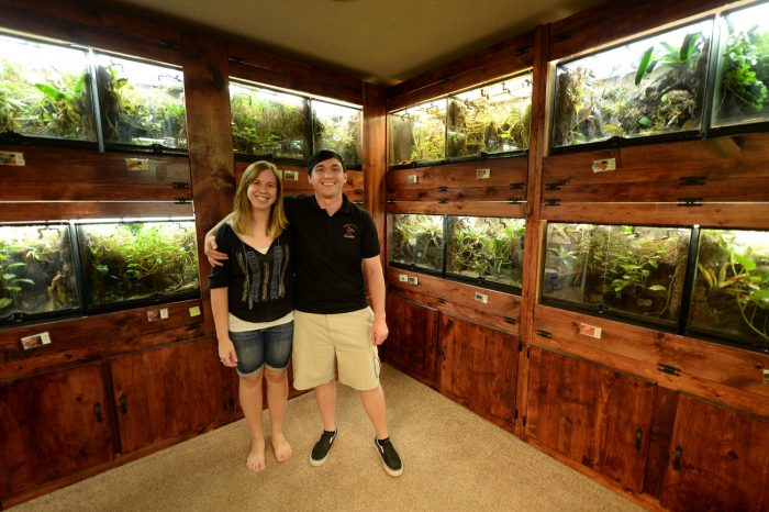 Photo: Private collectors In the frog room of their home in Oklahoma City.