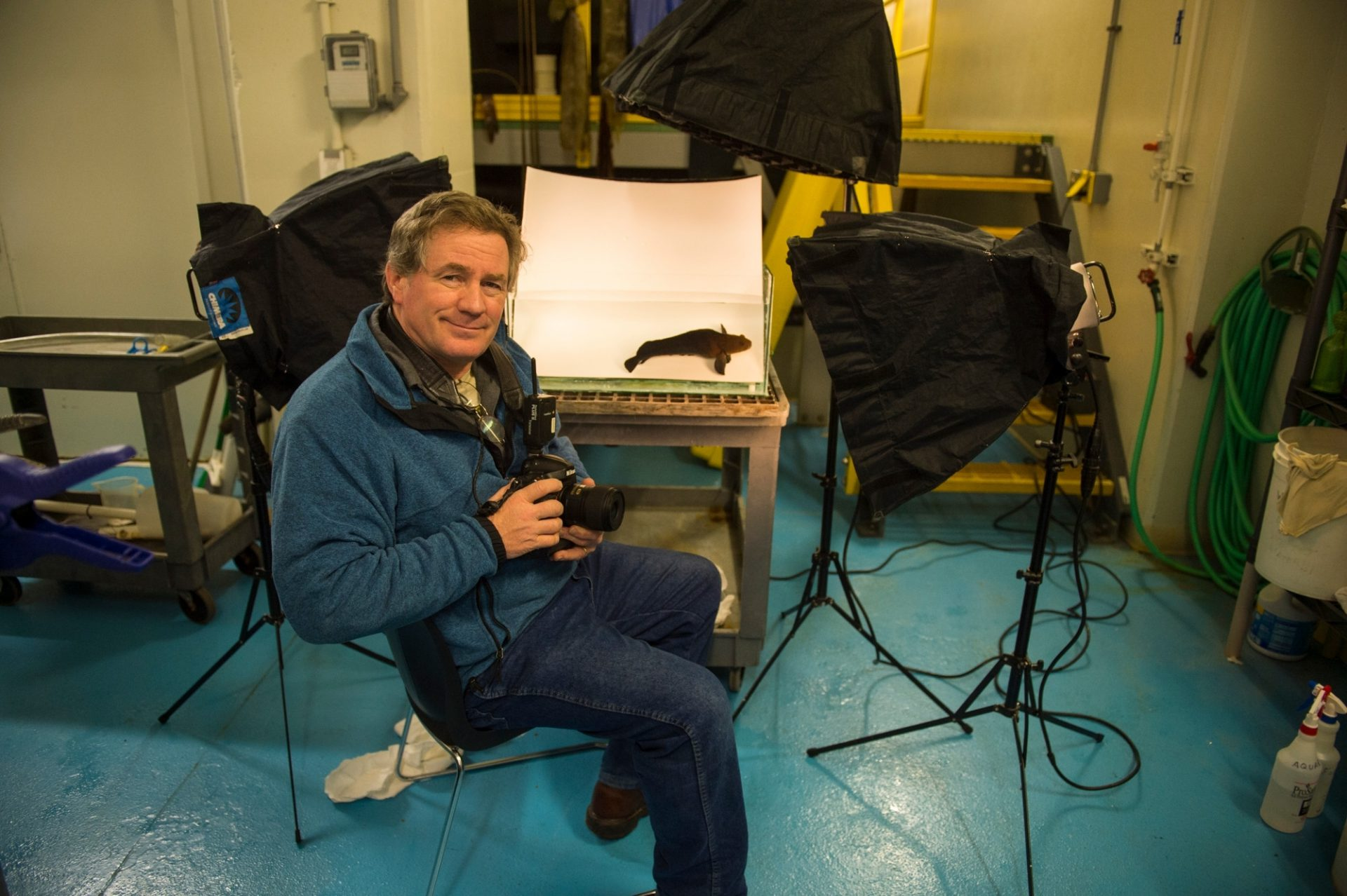 Photo: A photographer prepares for a photo shoot at the Alaska SeaLife Center in Seward, AK.