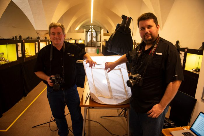 Photo: Joel Sartore (left) and Pierre Chabannes on a spider shoot at Museum of Nature South Tyrol in Bolzano, Italy.