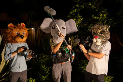 Photo: The RARE documentary crew poses with camera gear at Fundacao Jardim Zoologico de Brasilia.