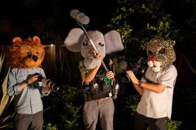 Photo: The RARE documentary crew poses with camera gear at Fundacao Jardim Zoologico de Brasilia.