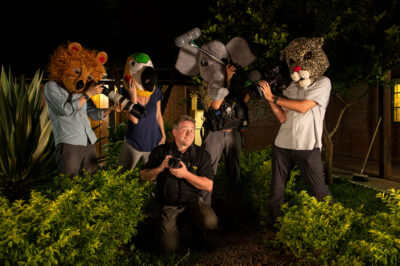 Photo: Joel Sartore poses with the RARE documentary crew at Fundacao Jardim Zoologico de Brasilia.