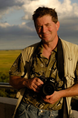 Photo: Joel Sartore on assignment in Everglades National Park, Florida at the Shark Valley observation tower.