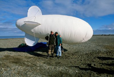 Photo: On assignment on Alaska's North Slope -- shown is the blimp camera used to photograph whale butchering.