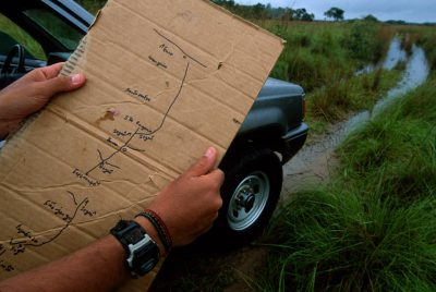 Photo: A hand-drawn road map shows the swampy path through the flooded pastures of Brazil's Pantanal during the wet season.