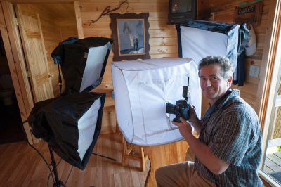 Photo: Joel Sartore's butterfly shooting tent and lighting set up, Leech Lake, MN.