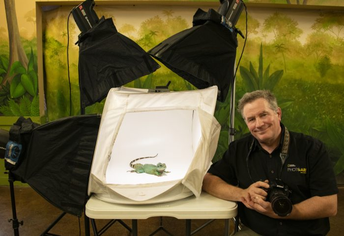 Photo: Joel Sartore photographs a Chinese water dragon, Physignathus cocincinus, at the Lincoln Children's Zoo in Lincoln, NE.