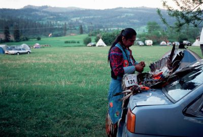 Photo: A dancer readies for the competition at a Nez Perce pow wowin Lemhi, ID.
