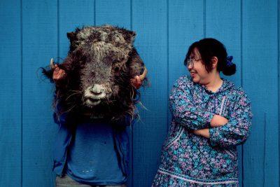 Photo: Native women with the head of a musk ox on Nunivak Island, Alaska.