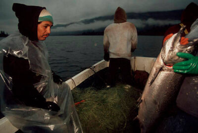 Photo: Native Americans fish for salmon on the Columbia River in Washington.