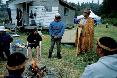 Photo: Scene from a cookout in Ahouset, a native village on Vancouver Island.