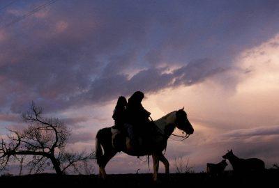Photo: Young Ute girls on horseback near Ouray, Utah.