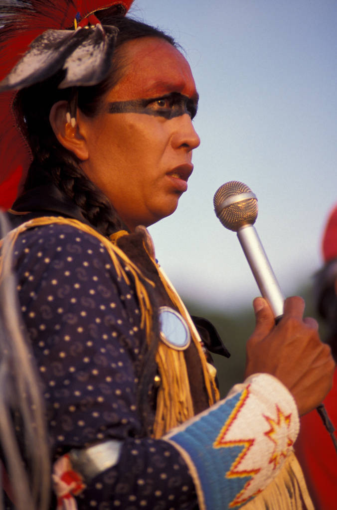 Photo: A speaker at the Cherokee National Holiday in Tahlequah, OK.