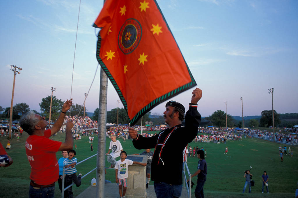Photo: Raising the flag at the Cherokee National Holiday in Tahlequah, OK.