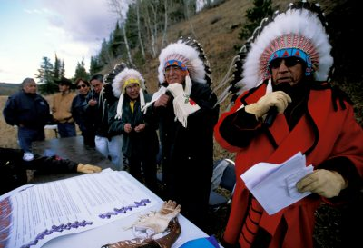 Photo: Members of the Blackfeet tribe celebrate their claim on the Badger-Two Medicine Area in Montana, land sacred to them, which has been leased for natural gas development.