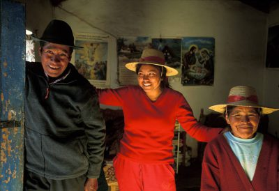 Photo: An Aymara family (indigenous) in the Chilean high Andes.