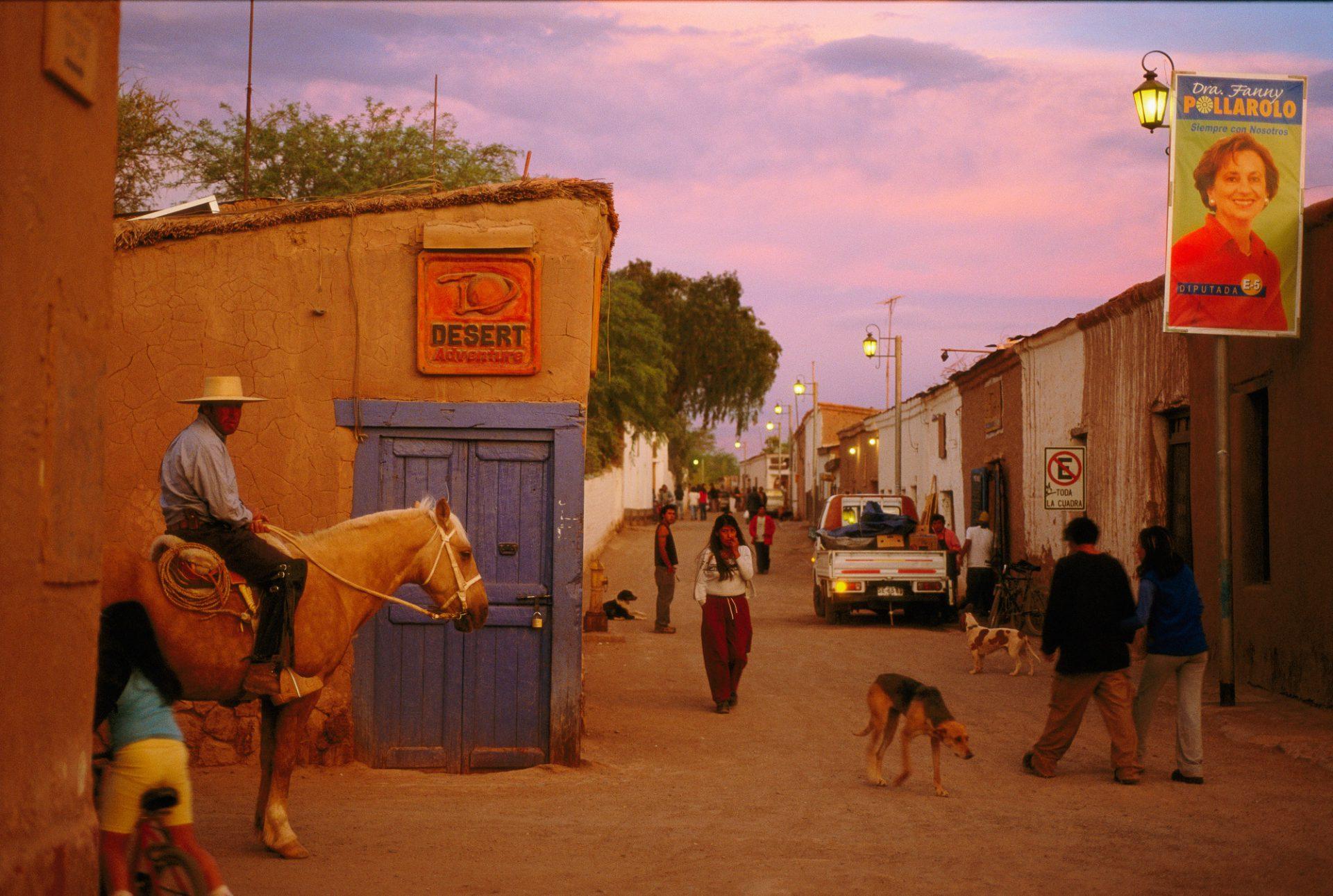 Photo: A street in San Pedro de Atacama as the day comes to an end.