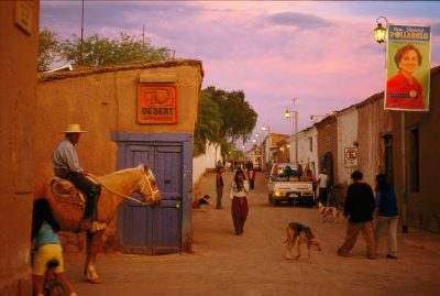 Photo: A street in San Pedro de Atacama as the day comes to an end.