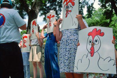 "Photo: Competitors at the ""Best Beak"" contest at Wayne, NE's Chicken Days festival."