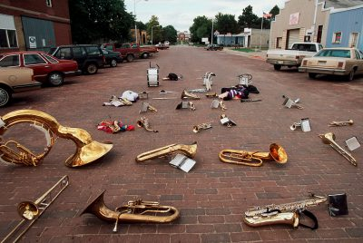 Photo: Band instruments are simply left in the street after a pep rally in Milligan, Nebraska.