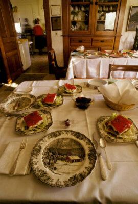 Photo: Thanksgiving Day grace is said at Floyd & Gertrude Trumble's Nebraska farmstead.