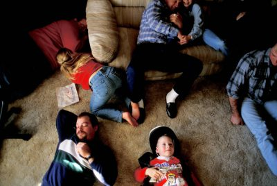 Photo: A family relaxes after Thanksgiving dinner in Eagle, Nebraska.