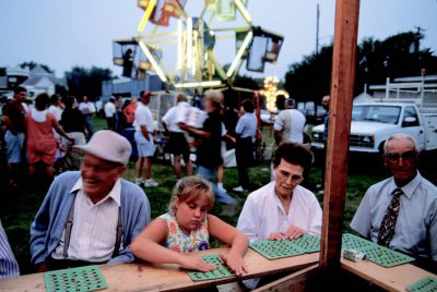 Photo: The bingo table at the Old Settler's Picnic in Western, Nebraska.