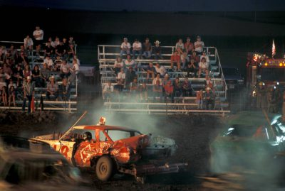 Photo: Scene from the Phelps County (NE) Fair's demolition derby in Holdrege, Nebraska.