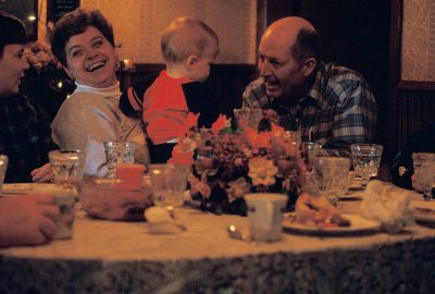 Photo: Grandparents play with their grandchild after Thanksgiving dinner in Eagle, Nebraska.
