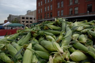 Photo: Corn is for sale at the Farmer's Market in Lincoln's historic Haymarket district.