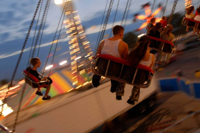 Photo: Rides on the midway at the Nebraska State Fair.