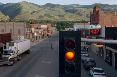 Photo: Traffic light at the corner of Main and Church streets in Salmon, Idaho.