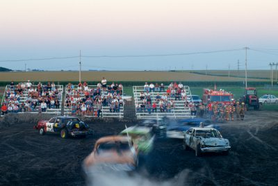 Photo: Sundown at the Phelps County Fair's demolition derby in Nebraska.