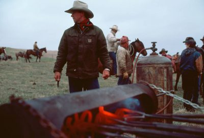 Photo: Branding irons heat up at a ranch in the Nebraska Sandhills.