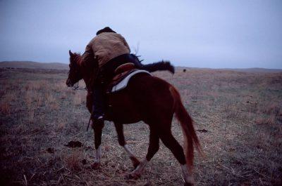 Photo: A rancher in Nebraska's Sandhills, mounts his horse to go work cattle.