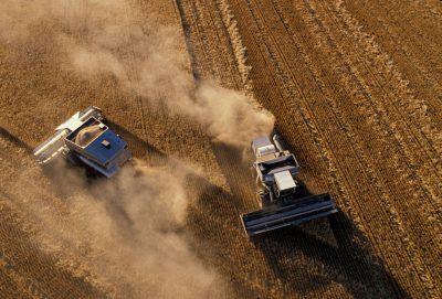 Photo: Aerial of wheat harvest near Belle Plaine, KS.