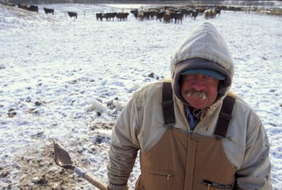 Photo: Frost forms on the moustache of a feedlot worker in Springfield, NE.