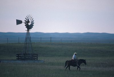 Photo: A refuge worker after a day of working longhorn cattle on the Fort Niobrara NWR near Valentine, Nebraska.