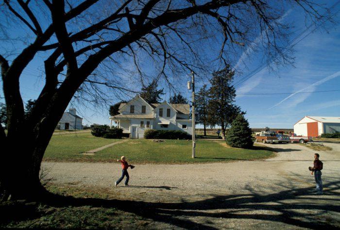 Photo: Playing catch after a family dinner on a farm near Murdock, Nebraska.