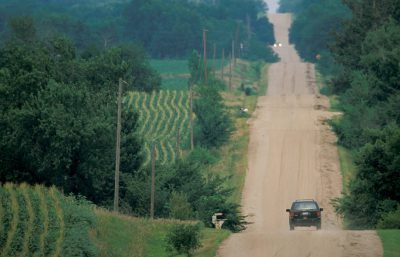 Photo: Truck on a dirt road near Roca, Nebraska.