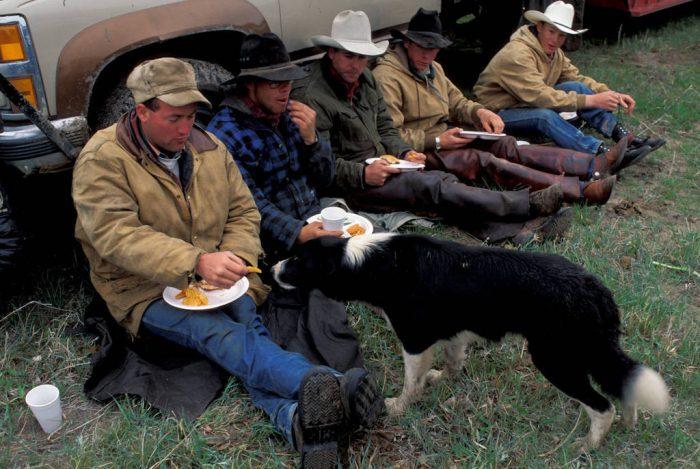 Photo: Ranch hands in the Nebraska Sandhills take a break after dinner.