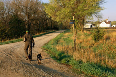 Photo: A Nebraska farmer walks down the dirt road to his house after visiting the mailbox.