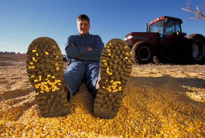 Photo: A farmer's son lies down in a pile or recently-harvested corn kernals on a farm in Nebraska.