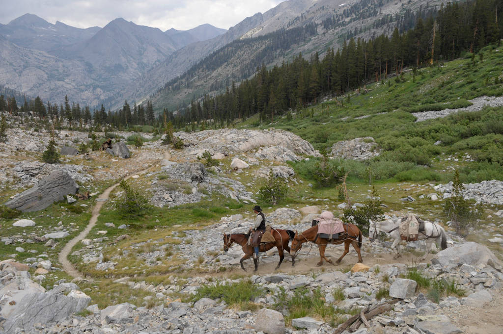 Photo: Trail riders make their way through the Kings Canyon National Park in the Sixty Lake Basin, California.